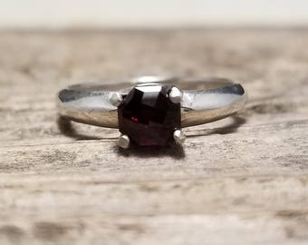6mm Garnet in Sterling Silver Ring