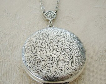 Large Silver Locket Wife Sister Wedding Bride Bridesmaid Mother Birthday Daughter   Christmas Hanukkah Antiqued Necklace Pictures  - Shanna