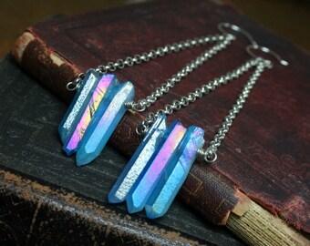 Mystic Blue Quartz Crystal Row Earrings Electroplated Quartz Crystal Points Earrings Titanium Quartz