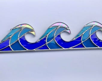 Handmade Stained Glass Crashing Waves