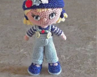 Bonnie's OOAK Crochet Cotton Thread Item  Blonde Haired mini Doll/Collectible not a toy