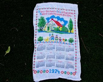 Vintage calendar tea towel, 1974, 'Bless This House' design