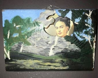 Free Shipping!  Frida Visits Coba -  Original Artwork Acrylic painting Collage, Hand-Painted Coba Pyramid  & Collage Portrait of Frida Kahlo