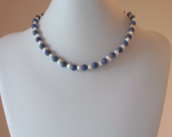 Lapis Lazuli and freshwater pearl necklace, 19 inches