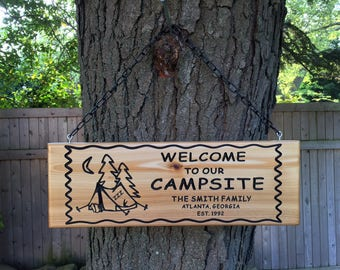 Personalized Custom Made Carved Family and Last Name Camping Cedar Wood Sign Wall Plaque
