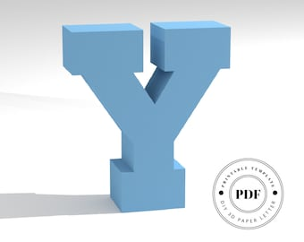 Printable DIY template (PDF).  Letter Y low poly paper model template. 3D paper lettering. Origami. Papercraft. Cardboard alphabet.