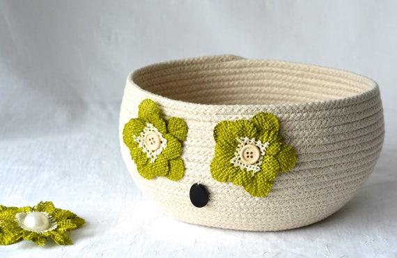 Natural Minimalist Bowl, Handmade Artisan Owl Basket, Modern Owl Clothesline Basket, Lovely Yarn Bowl,  hand coiled natural rope basket