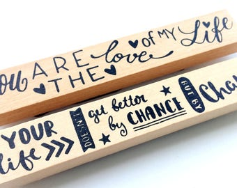 Wooden border, message, set of two new stamps