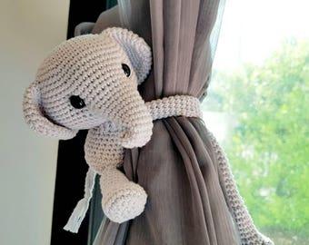 Elephant curtain tie back, cotton yarn crochet elephant, amigurumi elephant.