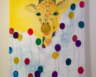 "16""x20"" Giraffe Painting/ Head on the Clouds"