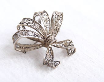 Filigree Brooch Pin Sterling Silver Bow Vintage Mexican Filligree Blossom Jewelry