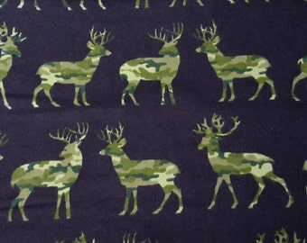 Flannel Fabric - Camo Deer on Black - By the yard - 100% Cotton Flannel