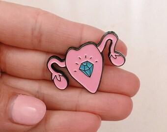 Enamel pin. Uterus. Pin. Planned Parenthood.  Gift under 20.