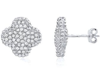 "Silver and Post Women's Sterling Silver CZ ""Clover"" Stud Earrings, High Quality Design, Bamboo Gift Box Included"