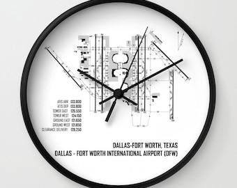 Dallas / F.T. Worth International Airport (DFW) Map - Wall Clock