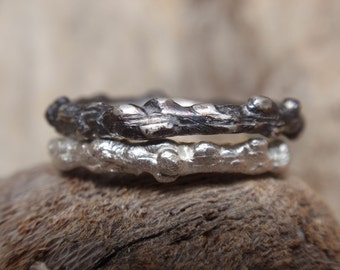 twig jewelry rustic wedding bands branch stacking rings wedding band set of 2 twig rings made to order - handmade eco twig oxidized jewelry