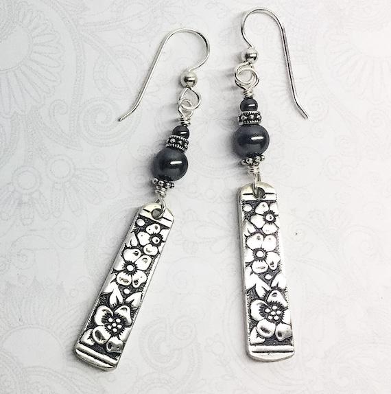 Dangle Spoon Earrings with Black Pearls, 'Venetian Garden' 1971, Silverware Jewelry