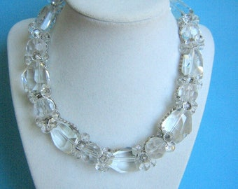Fantastic Yousi Cut Glass and Silver Chain Beaded Necklace