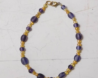 "Purple Ankle Bracelet Beaded Anklet Hippie Beach Jewelry Yellow Beads Plus Size 8 1/2"", 9"", 10 Inch"
