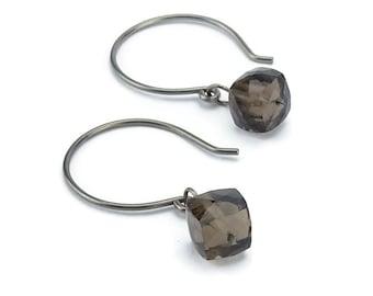 Niobium Earrings Smoky Quartz, Hypoallergenic No Nickel Earrings for Sensitive Ears with Brown Gemstone Cubes, Niobium Jewellery
