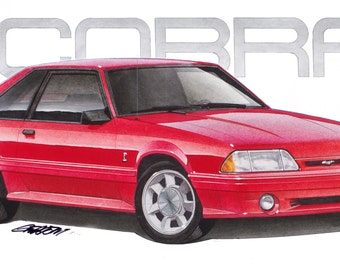 1993 Ford Mustang SVT Cobra 12x24 inch Art Print by Jim Gerdom