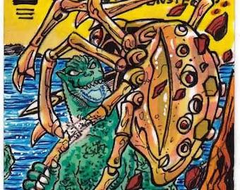 "Dark Horse Godzilla vs Mecha Spider ""After Arthur Adam"" Cover Recreation Personal Sketch Card"