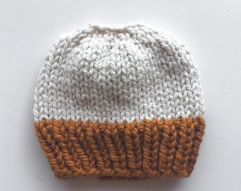 Messy Bun Hat Chunky Ponytail Beanie | THE KINZIE in Fisherman and Butterscotch