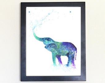 Cosmic Elephant Spirit Animal Art Print Watercolor 8x10