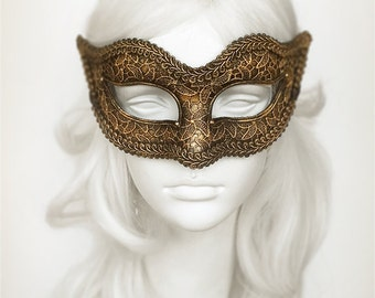 Antiqued Black & Gold Masquerade Mask In Steampunk Look  - Venetian Style Lace Covered Black and Gold Masquerade Ball Mask