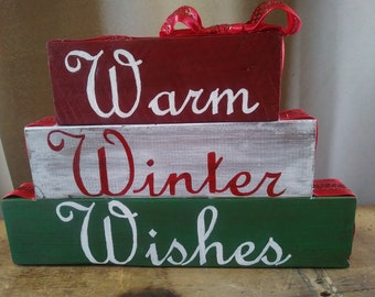 Warm Winter Wishes ~ Primitive Christmas ~ Rustic Christmas Sign ~ Holiday Christmas Sign