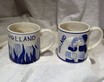 Dutch Delft Mugs, Vintage Hand Painted Mugs, Holland Tulips and Kisses