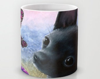 Coffee Mug Cup Art Dog 91 Black Chihuahua Pink Butterfly 11oz or 15oz art painting by L.Dumas
