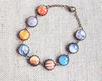 Solar System Bracelet, Solar System Jewelry, Space Jewelry, Milky Way Galaxy, Planet Jewelry, Galaxy Bracelet, Statemen Bracelet