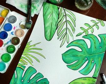 Green Leafy Foliage Watercolor, original art, wall decor