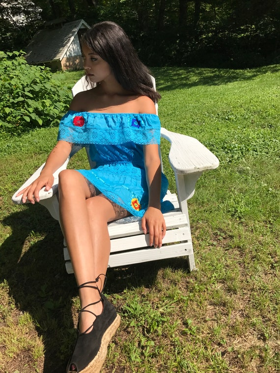 embroidered dress turquoise / mexican dress / OFF SHOULDER dress / xs, s