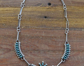 Zuni Mahkee Sterling Silver and Turquoise Needlepoint Necklace