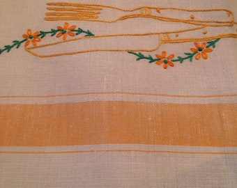 Vintage Yellow Embroidered Tea Towel