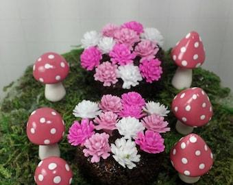 Fairy garden accessories.  Set of 8 pink fairy garden accessories.