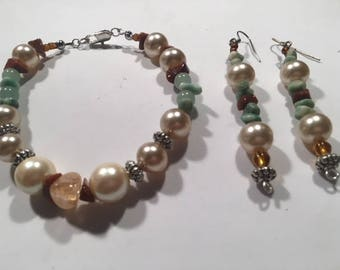 Handcrafted Citrine Tumbled Stone Goldstone Jade Chips Faux Pearl Bracelet Earring Set