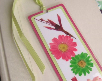 Pink and Green Floral Bookmark / Pressed Flower Bookmark / Laminated Bookmark / Neon Pink and Lime Green