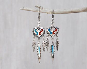 Vintage Heart Feather Earrings - sterling silver with crushed turquoise and red coral - Southwestern style - SW 92