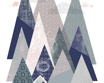 Mountains. A4 giclée print.