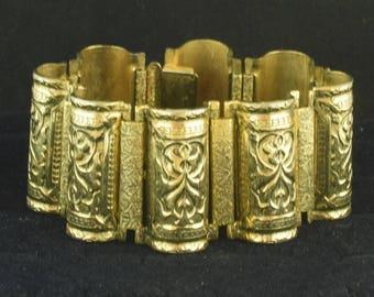 """Large Heavy Vintage Bracelet Ornate Design 1 5/16"""" Wide ~ Lot 1588"""