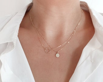 Solid Gold Circle Necklace, 14K Open Circle Necklace, Karma Necklace, 14K gold necklace