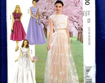 McCalls 500 David Tutera Romantic Wedding Skirt & Crop Top Pattern Size 14 to 22 UNCUT