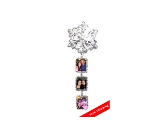 DIY - Bouquet Charms - 3 Wedding Bouquet Photo Charm Memorial Silver Crystals - Free Shipping