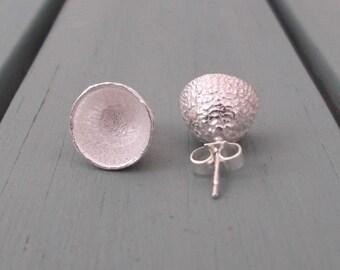 Sterling silver stud earrings acorn caps
