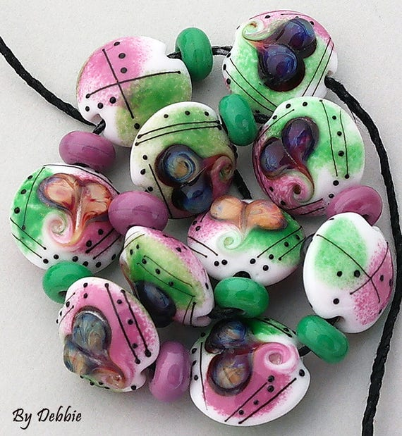 Lampwork Beads Glass Beads Statement Necklace Beads For Jewelry Supplies Heart Beads For Bracelet Bead Earrings Jewelry Beads Debbie Sanders