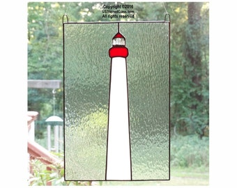 Cape May Lighthouse Stained Glass Panel with Real Quartz Crystals - Nautical Decor, Beach Decor, Coastal Decor, Lighthouse Decor, Glass Art