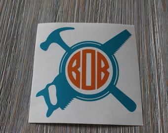 Tool Monogram Car Decal - Hammer and Saw Monogram Car Decal - Monogram Tool Car Decal - Monogram Car Decal - Monogram Decal - Car Decal